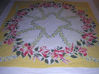 001T Vintage COTTON TABLECLOTH Red Pink TROPICAL FLORAL Yellow Border 48 x 52