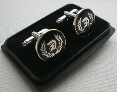 Cufflinks Set - Skinhead Ska Reggae Badge - Trojan Laurel Black - Silver Plate