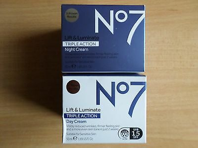 No7 LIFT & AND LUMINATE TRIPLE ACTION DAY & NIGHT CREAM 2 X 50ML SPF15