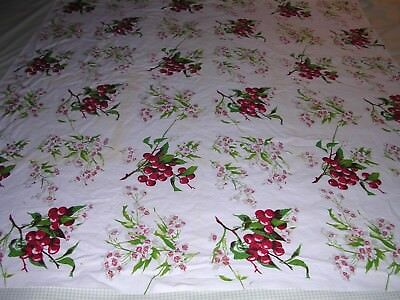 006T Vintage COTTON Tablecloth WILDENDUR ? CHERRIES AND BLOSSOMS 47 x 53""