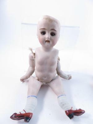 Antique 7Inch German Bisque Doll Sleep Eyes Open Mouth Teeth For Repair