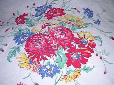 008T Vintage Cotton Tablecloth RED YELLOW BLUE Floral MUMS 43 x 53 As Is CUTTER
