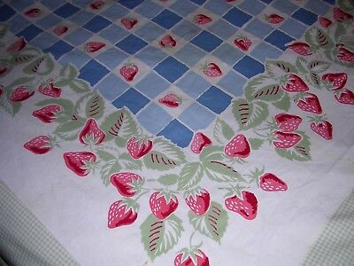 009T Vintage Sturdy COTTON Tablecloth BLUE GINGHAM CHECK with STRAWBERRIES 52x65