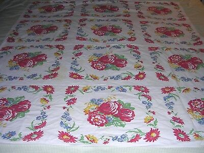 014T Vintage Cotton Tablecloth RED ROSES BLUE YELLOW FLOWERS in BLOCKS 55 X 64""