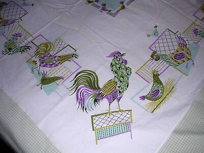 018T Vintage COTTON Tablecloth ROOSTERS HENS CHICKENS Lavender Aqua MID CENTURY