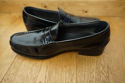 KG By KURT GEIGER MENS BLACK LEATHER  LOAFER SHOES SIZE 10/44