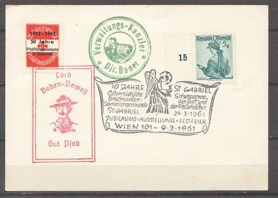 1962 Card with cinderella posterstamp Scouting Baden Powell+ special cancel