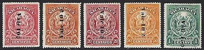NICARAGUA Sc 212-6 1907-8 SURCHARGE ISSUE
