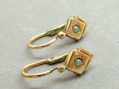 Antique Edwardian/Art Deco Tiny Rolled Gold Faux Pearl Dormeuse French Earrings