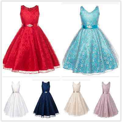 NEW Flowe Girls  Formal Layered Wedding Dresses Bridesmaid Party Dress Age 2-12Y