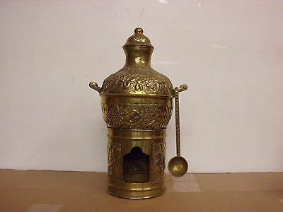 Brass pot with handles, lid  and stand together with spoon