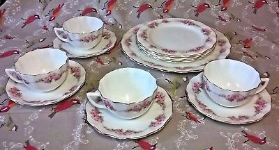 Aynsley Pink Rose Pattern - 4 cups & saucers, 4 side plates, 1 cake plate (123)