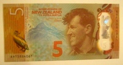 Banknote>New Zealand>5 Dollars >2015 Nd Issue> Unc Cond.<