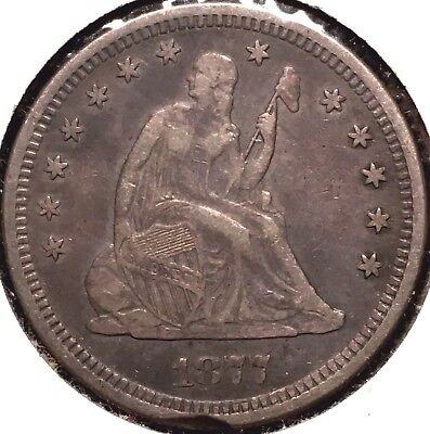 1877-S Liberty Seated Quarter VF+ XF Extra Fine