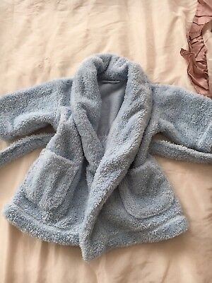 The Little White Company Baby Sky Light Blue Robe Pjs Age 12-18 Months