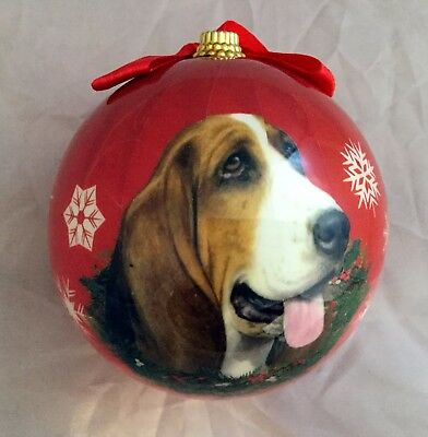 E&S Pets Holiday Christmas Ornament Ball Shatterproof NEW Basset Hound Dog