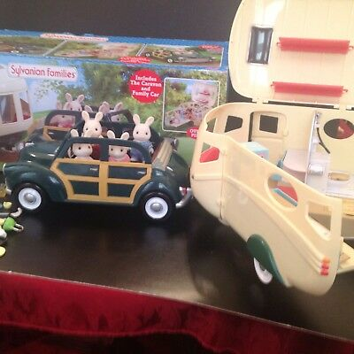 Sylvanian The Car And Family Caravan In Original Box