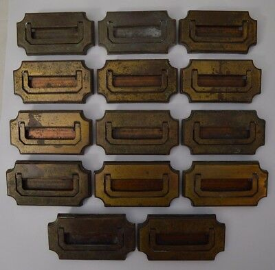 Lot of 14 Vtg Brass Gilt Metal Dresser Cabinet Drawer Pulls Flat Laying Handle