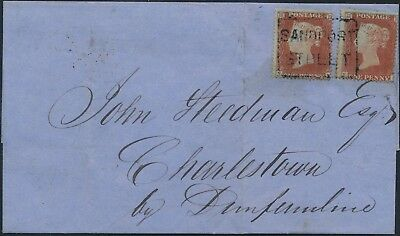 "1854 SG17 1d red pair on wrapper cancelled by Sandport Street ""Scots Local"""