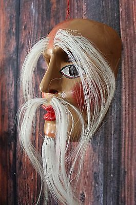 Hand Carved & Painted Wood Mask Old Man horsehair Beard Mexico Folk Art Guerrero
