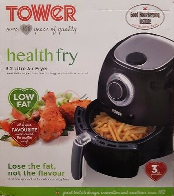 Tower  Low Fat Health Air Fryer with 3.2L Capacity  in Black *plz read descript*
