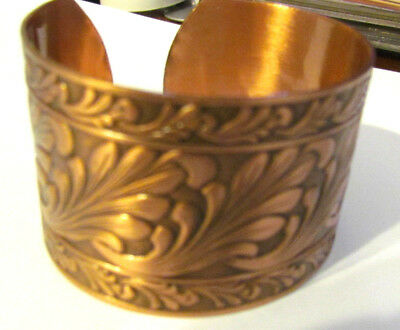 Solid Copper Cuff with Scroll Design  WIDE 6.50  adjustable 1.5 wide  BRAND NEW