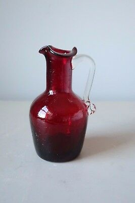 "Vintage Red Crackle Glass Mini Pitcher Ewer Jug 4.75"" Blenko or Pilgrim Type"