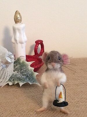 """Needle Felted Mouse """"Isaac """" Handmade Mice Doll Bear Animal Ooak By Suzanne X"""
