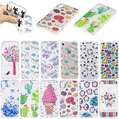 For iPhone 6 6S 7 8 Plus X Ultra Clear Soft TPU IMD Gel Case Cover Cute Patterns