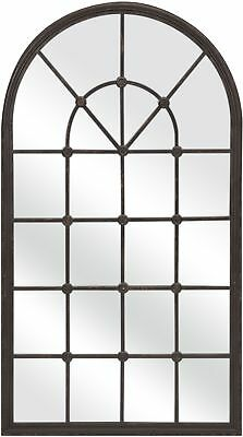 """Window Frame Wall Mirror Hanging Decor Arched Top Iron Metal Brown Black 50"""""""