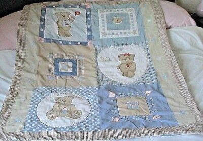 Quilted childrens  Small bed throw TEDDY BEAR DESIGN Cot Bed