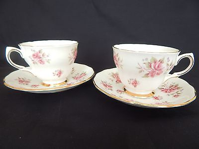 Colclough ~ 2 Vintage Rose Bud Cups And Saucers ~ Pattern 8256