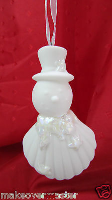 "Vintage Ceramic Snowman with Shell Body Christmas Ornament All White 3""  A+"
