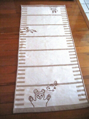 Nursery Rug 100% Cotton White Tan Bunny Bear Fish 25 x 54 Soft Thick Runner