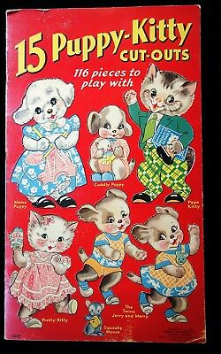 Un-Cut Paper Doll Book T15 Puppy-Kitty Cut-outs Merrill 1938 Gender Roles