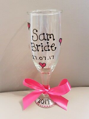Hand Painted Personalised Champagne Flute /  Glass Bride, Bridesmaid Hen Night