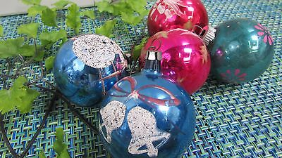 5 Vintage Mercury Glass Stenciled Hand Painted Snowman Christmas Ornaments
