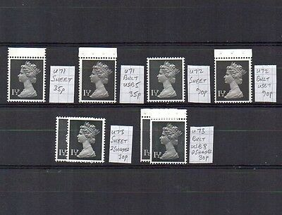 MACHIN  8 x 1.5p  DIFFERENT  SPECIALISED CV £3.10 UNHINGED MINT