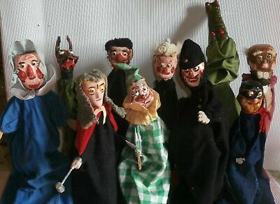 EARLY  exceptional  primitive  Punch  and Judy  SET OF  10  WOODEN puppets