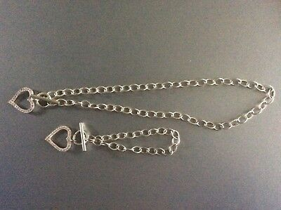 Sterling Silver T Bar Necklace And Bracelet Set With open heart pendants