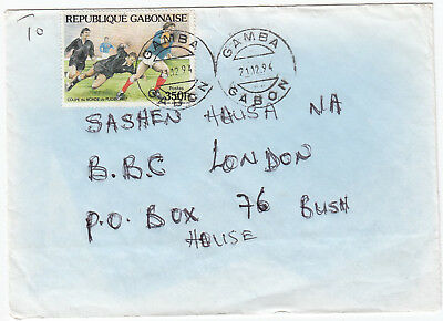 U1103 Gabon commercial cover to UK, 1994; solo 350F rugby stamp