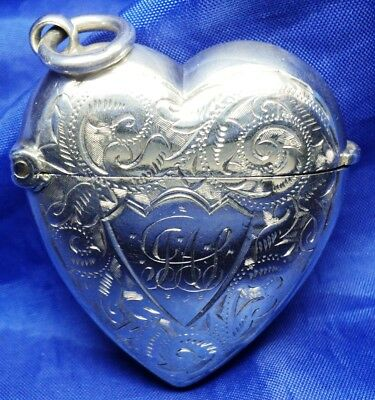 Victorian Solid Silver Heart Shaped Vesta Case By Rolason Brothers ~ B'ham 1897