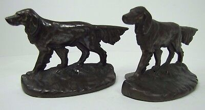 Authentic Antique Cast Iron Pointer Dog Bookends c 1927 AM Greenblatt Studios MA