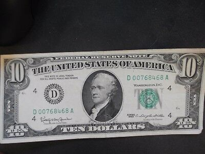 1963A Ten Dollar ($10.00) Federal Reserve G Series Note
