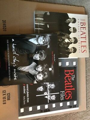 Lot of 3 Beatles books: Unseen Archives, The Beatles files, A Hard Days Write