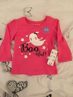 Baby Girls Halloween Pink Bootiful Long Sleeved Pink Top 6-9 Months Nutmeg