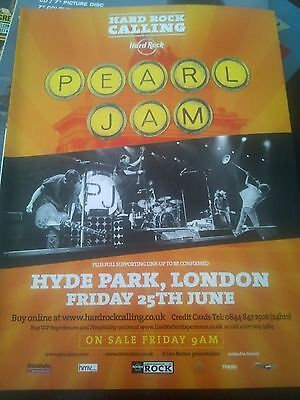 Pearl Jam 2010 Tour Hyde Park London Advert Poster Kerrang Mag Hard Rock Calling