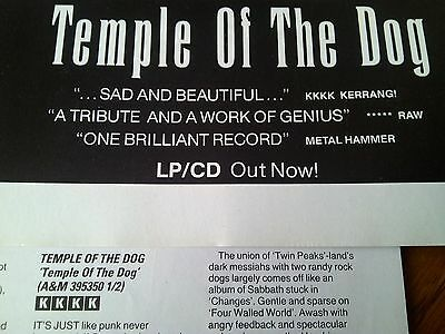 Temple of the Dog Original 1991 Advert & Album Review Pearl Jam Soundgarden MLB