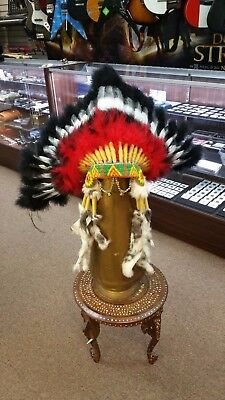 GENUINE NAVAJO Choctaw Warbonnet Native American Headdress Red Black White