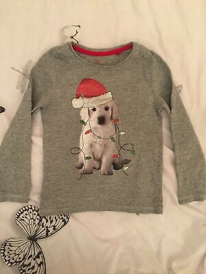Girls Grey TU 2-3 Years Cute Christmas Thin Jumper Top Long Sleeved
